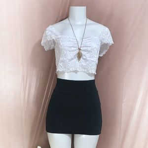 Fashion Forms Off the Shoulder White Lace Crop Top